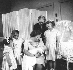 The Royal Forums:  Queen Juliana's Family at Soestdijk - Princesses Margriet and Irene, then Crown Princess Juliana holding Princess Cristina, Prince Bernhard, Princess Beatrix