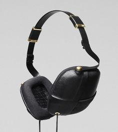 Pleat Napa Leather-Covered Over Ear Headphones