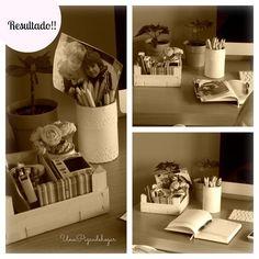 Caja de fruta para organizar escritorio