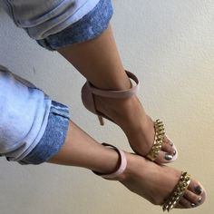 Suede sandals with spikes Brand new blush colored heels! Never worn out. The spikes are gold and gives the shoe an edgy look. Make a casual outfit pop with these gorgeous heels! Size 6, but could possibly fit a narrow 6.5. Charlotte Russe Shoes Heels