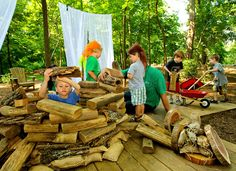 Using logs and natural wood shapes pushes the problem solving skills because of the different sizes and edges.