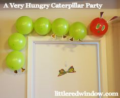 Very Hungry Caterpillar Birthday Party, full of a ton of great ideas inspired by the book for food, decorations and activities! via littleredwindow.com