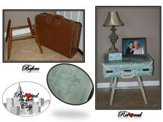 1960's vintage suitcase made into an end table using duck egg, old ochre & graphite chalk paint by Annie Sloan
