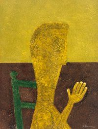 Rufino Tamayo (Mexican, 1899-1991) Personaje Sentado, 1976 Etching in colors on paper 29-1/4 x 22