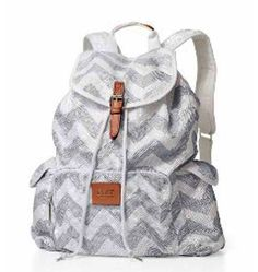 Grey and white pink backpack