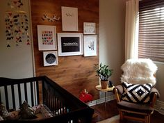 Rustic nursery with wood panel accent wall - so many great touches! #nursery #accentwall