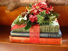 Love! Books tied up with ribbon- do this for office