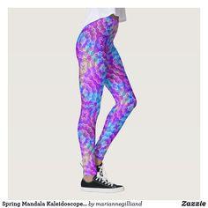 Spring Mandala Kaleidoscope Pattern Print Leggings