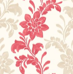 Kaya (M0713) - Crown Wallpapers - A stylish and contemporary floral trail with hand painted flowers in a ikat effect. Showing in coral red and light gold on a cream background - more colours are available. Please request a sample for true colour match.