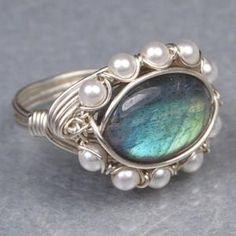 Oval Labradorite Gemstone and White Swarovski Pearls Sterling Silver Wire Wrapped Ring- Custom Made to Size | Twist21 - Jewelry on ArtFire
