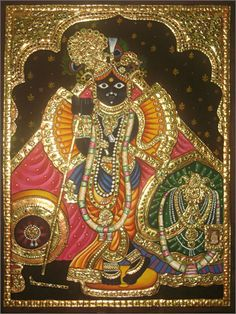 Over two decades ago, when I had my first baby, my mother gifted me a gorgeous Tanjore painting, depicting the beautiful Bal Gopal (infant Krishna) and his adoring mother. Mysore Painting, Tanjore Painting, Krishna Painting, Art Forms Of India, Pooja Room Door Design, Ganesh Wallpaper, Indian Paintings, Leaf Paintings, Wonder Art