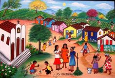 ROSANGELA BORGES TEMA AS FOFOQUEIRAS A VENDA COM AJUR SP (Painting),  40x50 cm por Arte Naif AJUR SP VENDEDOR E DIVULGADOR DA ARTE NAIF BRASILEIRA
