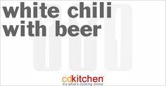 Made with boneless skinless chicken breast halves, navy beans, chicken broth, green chiles, onion, cumin, dried cilantro, chili powder, beer, corn starch, shredded cheese | CDKitchen.com