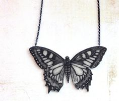 Butterfly necklace -pendant, drawing on plastic