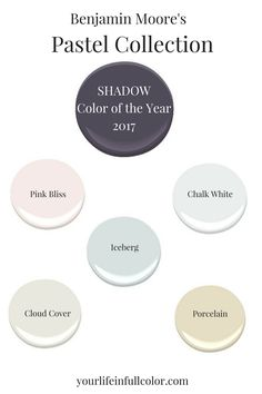 Benjamin Moore's Shadow 2117-30 adds sophistication to the beauty of a light filled pastel palette. Pink Bliss 2093-70, Chalk White 2126-70, Iceberg 2122-50, Cloud Cover OC-25, Porcelain 2113-60.