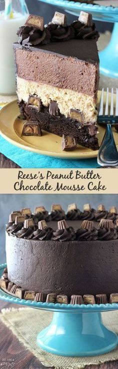 Peanut Butter Chocolate Mousse Cake - A brownie layer on bottom with Reese's topped with peanut butter and chocolate mousse! Peanut Butter Chocolate Mousse Cake - A brownie layer on bottom with Reese's topped with peanut butter and chocolate mousse! Peanut Butter Mousse, Peanut Butter Recipes, Chocolate Peanut Butter, Butter Mochi, Peanut Butter Cupcakes, Cookie Butter, Almond Butter, Just Desserts, Delicious Desserts
