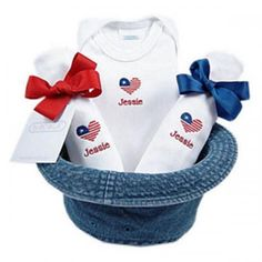 8 best new baby flowers gifts images on pinterest fresh flowers unique patriotic baby gift set that includes cotton short sleeve bodysuit 2 burp cloths wrapped and tied with a bow and denim hat to protect babys negle Images