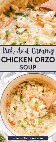 Rich and creamy chicken orzo soup is a stick to your ribs kind of soup that's hearty enough for a dinner on a cold winter's night and easy enough to make for a quick weekend lunch. This creamy chicken soup is thick and delicious and it's filled with one of my favorite fast ingredients: leftover roast chicken! Chicken Orzo Soup, Creamy Chicken, Roast Chicken, Best Soup Recipes, Real Food Recipes, Home Recipes, Winter Soups, Slow Cooker Soup, One Pot Meals