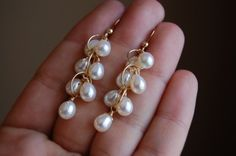 Gold AAA+ Handpicked Round Freshwater Cultured White Pearl Stud Earrings for Women Girls (yellow-gold, – Fine Jewelry & Collectibles Emerald Earrings, Cluster Earrings, Pearl Earrings, Statement Earrings, White Earrings, Handmade Wedding Jewellery, Earrings Handmade, Wedding Jewelry, Gold Earrings Designs