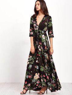 Black V-Neck Button Front Floral Maxi Dress