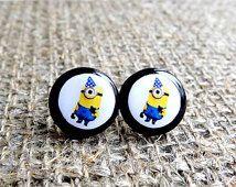 Minion stud earrings, Despicable Me earrings, Minion jewelry, Funny earrings, Yellow, Blue, Movie earrings, Children's Earrings