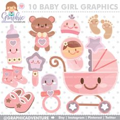 Baby Clipart, Baby Graphics, COMMERCIAL USE, Kawaii Clipart, Planner Accessories, Baby Girl Party, Baby Shower Graphic, Pastel Graphic, Cute by GraphicAdventure on Etsy https://www.etsy.com/uk/listing/294179543/baby-clipart-baby-graphics-commercial