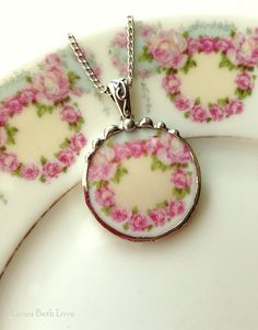 Antique French porcelain ring of soft pink roses broken china jewelry necklace pendant