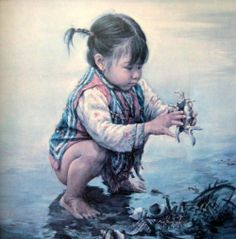 Artist: Kee Fung Ng (Chinese) Girl With Seashells, Children of Aberdeen