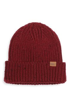 Primark - Red Ribbed Beanie Hat