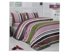 Double Duvet Cover Set   Multi Color Stripe  by linensandpillows, $95.00 Double Duvet Covers, Duvet Cover Sets, Color Stripes, Comforters, Trending Outfits, Blanket, Bed, Furniture, Home Decor