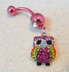 Bellybutton ring, belly ring with tiny multi-colored Swarovski crystal owl 14ga   YOUniqueDZigns - Jewelry on ArtFire