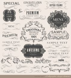 Vintage frame ornaments and calligraphic vector set - CC Attribution 3.0  Freebie