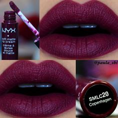 "Beautiful burdundy tone. Copenhagen SMLC20 by @nyxcosmetics ❤️ Isn't it ""wooow""..?? What do you think about this..?^^ Yay or Nay..? (I have done this swatch bfr,but I think that the color can be better appreciated in this photo..) By the way..thank you guys for following!!^^ L❤️OVE YOU IG FAMILY!^^❤️❤️ --- Oiiii gente..!Estou de volta com o Copenhagen SMLC20 da @nyxcosmetics  Resolvi postar mais uma vez,porque acho que nessa foto se aprecia melhor a cor. Comecei a fazer swatches de batom nw…"