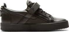 Giuseppe Zanotti Black Leather Zipper & Strap Sneakers
