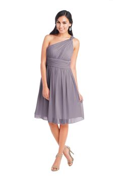 Donna Morgan 'Rhea Dress' in Grey Ridge. This dress features subtle draping and an asymmetrical neckline that highlights this romantic one shoulder chiffon dress. A ruched band creates a flattering waistline and is fully lined with padded cups and a structured bodice. Discover more bridesmaid dresses to rent at vowtobechic.com