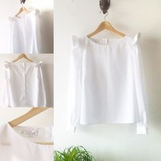 White womens shirt long sleeve blouse top / wings by PittiVintage