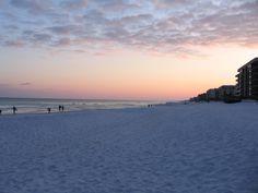 Okaloosa Island in Fort Walton Beach, FL at sunset.