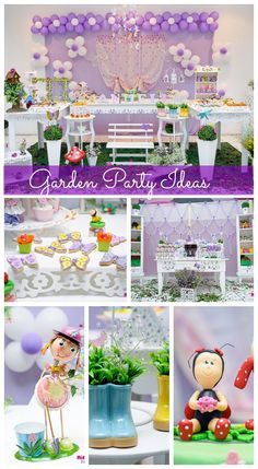 Beautiful garden birthday party ideas, perfect for a 1st girl birthday! See more party ideas at CatchMyParty.com.