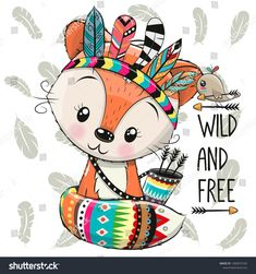 Cartoon Fox with feathers on a feathers background. Cute Cartoon Fox with feathers on a feathers background stock illustration Animal Drawings, Cute Drawings, Feather Background, Cute Cartoon Girl, Fox Print, Typography Prints, Woodland Animals, Nursery Wall Art, Illustration