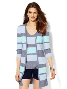 Shop Ribbed-Knit Open Cardigan - Stripe . Find your perfect size online at the best price at New York & Company.