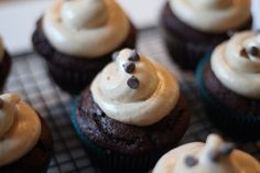 """There's no recipe, but an idea for dark chocolate """"Mexican"""" cupcakes with cinnamon cream cheese frosting. Yum."""