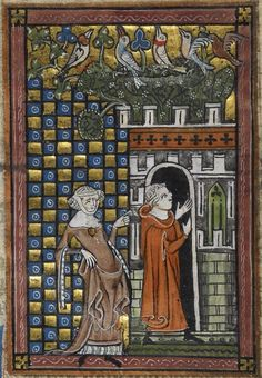 """""""Idleness showing the Lover into the Garden of Pleasure"""" from Roman de la Rose; France (Artois or Picardy), c. 1340"""