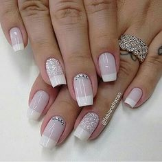 107 Designs of Elegant French Nails Decorated Easy to Learn How to Make French Manicure Step by Step Love Nails, Fun Nails, Pretty Nails, Bridal Nails, Wedding Nails, Bridal Makeup, Wedding Makeup, Nail Decorations, Cookies Et Biscuits