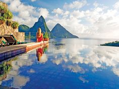 Jade Mountain Resort on St. Lucia's south-western Caribbean coastline is a cornucopia of organic architecture celebrating St. Lucia's stunning scenic beauty. Dream Vacations, Vacation Spots, Vacation Ideas, Jade Mountain St Lucia, Places To Travel, Places To See, St Lucia Hotels, St. Lucia, Sainte Lucie