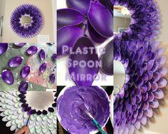purple ombre chrysanthemum mirror or plastic spoon mirror Plastic Spoon Mirror, Plastic Spoon Crafts, Plastic Spoons, Plastic Bags, Peacock Baby, Newspaper Dress, Purple Ombre, Chrysanthemum, Blogger Themes