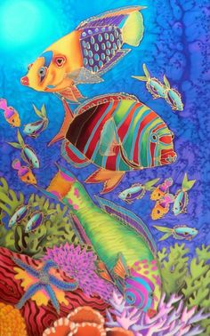 FISH PARTY hand painted silk by Kim Michelle Toft - $370 available to buy at bluethumb.com.au/kimmichelletoft #decorative #art #painting