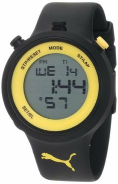 PUMA Men's PU910901006 Go Digital Black Yellow Watch PUMA. $59.50. Two year international watch warranty. Water-resistant to 165 feet (50 M). Quartz movement. Count-down timer, lap counter, alarm, EL backlight. Comes with PUMA signature packaging
