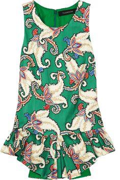 "Thakoon. Multicolor printed cotton/silk blend ""Tiger Lily Mikado"" peplum top."