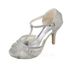[US$ 57.99] Women's Lace Sparkling Glitter Stiletto Heel Peep Toe Platform Sandals With Buckle