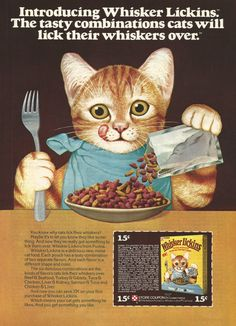 Whisker lickins cat food vintage print ad orange tabby cat kittens